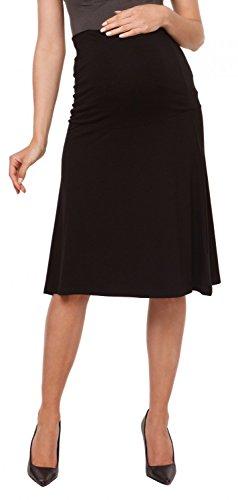 Zeta Ville - Maternité jupe genou trapèze empiècement extensible - femme - 983c Noir