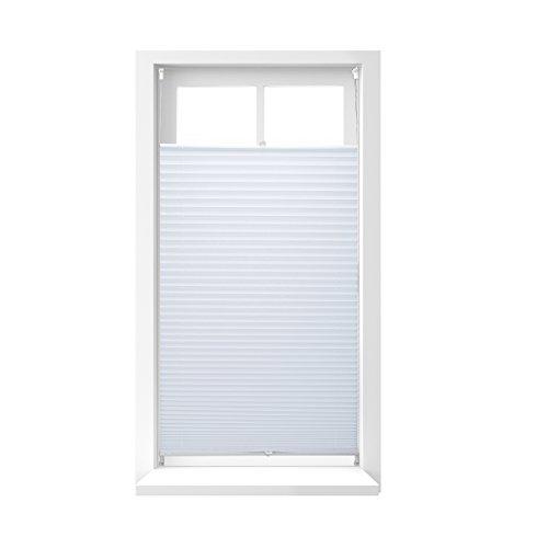 Relaxdays Store vénitien sans perçage volet fenêtre Blanc Laisse Passer la lumière, 90 x 210 cm, Blanc