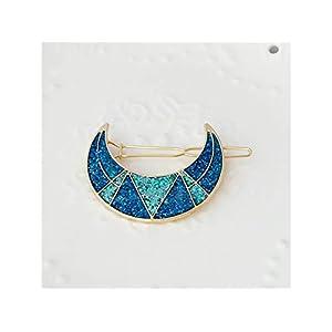Mädchen Alloy Haarspange Exquisite Mond Sterne Haarnadel Pony Clip Haarschmuck (blau) Kopfbedeckungen