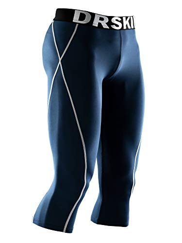 DRSKIN Herren 3/4 Kompressionshose Base Unterschicht Running Shorts Warm Cool Dry - - Large 3/4 Base Layer Pants
