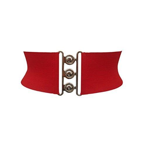 """Preisvergleich Produktbild Weddecor elastisch Korsett Typ weiß Hüfte Gürtel mit drei Silber Hakenverschluss Schnalle – 3"""" (7.62 cm) Fashion Zubehör für Damen - Rot, L-36-40"""