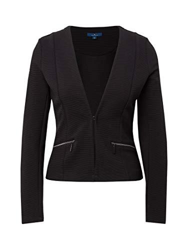 Tom Tailor Casual Damen Anzugjacke Strukturierter Blazer, Schwarz (Deep Black 14482), 36 (Herstellergröße: S)