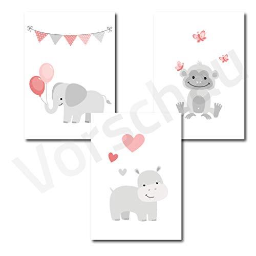 Papierschmie.de Kinderposter 3er-Set   Motiv: Babytiere   Kinderzimmer Babyzimmer Bilder   Poster A4