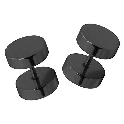 2 pendientes plug falso tunnel fakeplugs piercing aretes sin dilatación color plata oro negro 6 8 10 12 14 mm, Farbe2:schwarz / black / noir - 10mm