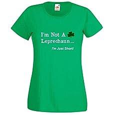 730533247 St Patricks Day Ladies Tee Shirt, I'm Not A Leprechaun Funny Irish Tee Shirt .