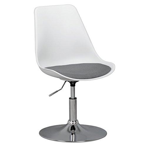 FineBuy HAINAN | Drehsessel Esszimmerstuhl Stoff-Sitzfläche Weiß/Grau | Drehstuhl ist höhenverstellbar | Drehhocker mit Rückenlehne | Besucherstuhl mit Schalensitz | Wartezimmerstuhl ohne Armlehnen