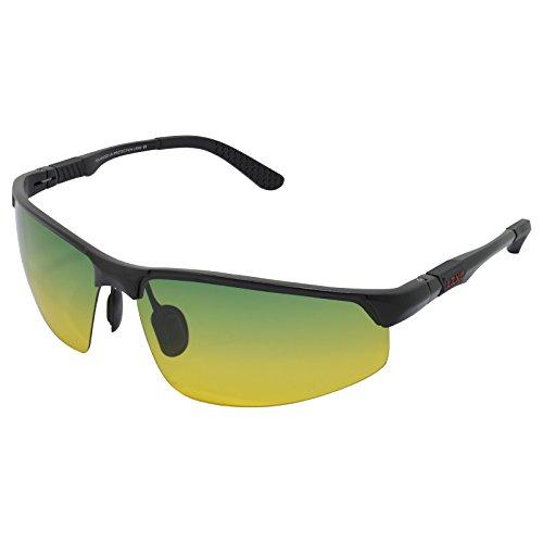 tsichtbrillen Polarisierte Sonnenbrille Sportbrillen Fahren im Freien Federscharnier Unzerbrechlich AL-MG Rahmen - Schwarzer Rahmen Tag-Nachtsicht Linse (Motorrad-nachtsicht)