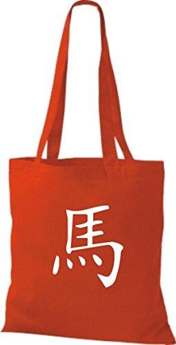 ShirtInStyle Stoffbeutel Chinesische Schriftzeichen Pferd Baumwolltasche Beutel, diverse Farbe bright red