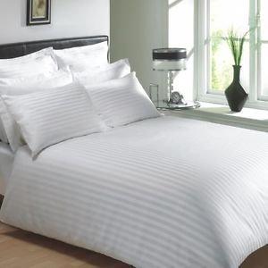 Trance Home Linen 100% 200 Tc self satin stripes White Duvet Cover...