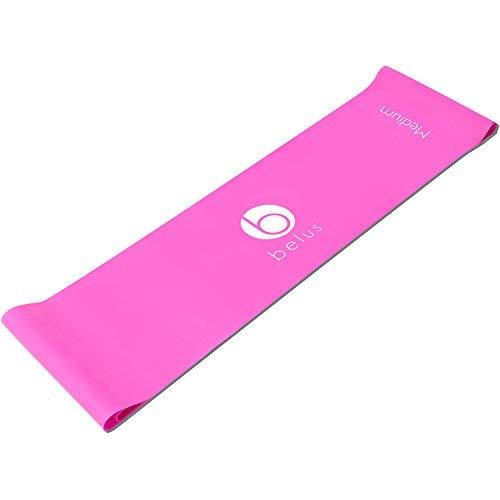 Belus Extralange Fitnessbänder - 2,5 m Lange Pinke, Flache Stretchbänder mit Tragebeutel. Ideal für Dehnung, Reha und Physiotherapie.