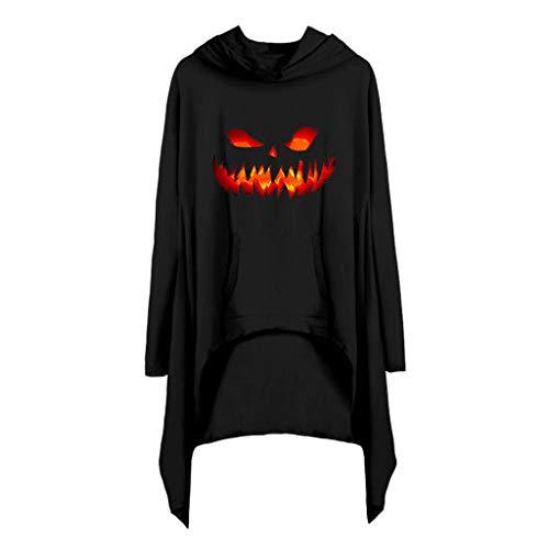 Lomelomme Halloween Kleid Damen Mit Kapuze Sweatshirt mit Tasche Langarmshirts Kleider Loose Fit Frauen Halloween Kostüm Kleid Asymmetrisch Casual (Hunde Elf Kostüm Medium)