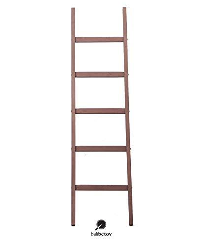 BALIBETOV Escalera Decorativa Rustica-Toallero y Sostenedor de Mantas-Decoración del baño y del Dormitorio-Estante de Secado de Ropa de Madera-Estante Blanco-Escalera Estantería (Bordo, 152): Amazon.es: Hogar