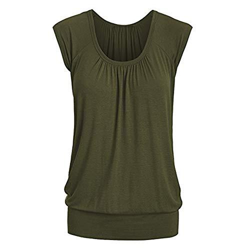 Linkay T Shirt Damen Kurz Bluse Tops Lässiger Rundhals Oberteile Mode 2019 (Armeegrün, X-Large) (Street Mime Kostüm)