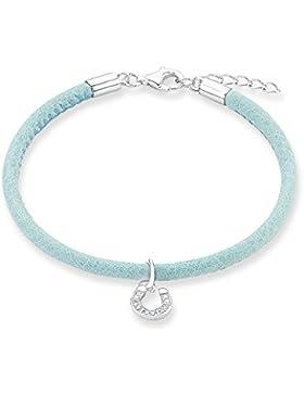 s.Oliver Kinder-Armband Mädchen Hufeisen 925 Silber rhodiniert Leder 18 cm-2012808