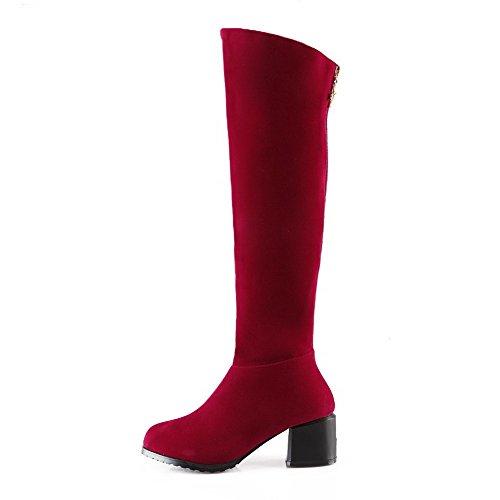 VogueZone009 Donna Punta Tonda Tacco Medio Alta Altezza Puro Stivali Rosso
