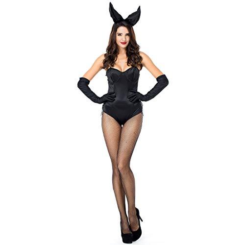 HOOLAZA Frauen-schwarzes Häschen-Mädchen-Kaninchen-Kostüm PrettyTube Cosplay Jumpsuit 3 Stück