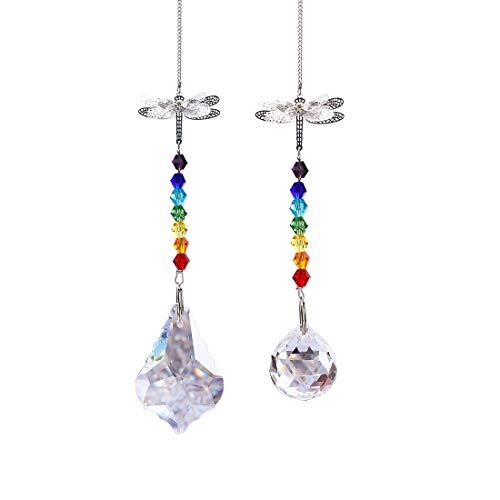YUFENG - Atrapasueños de libélula de Cristal con Cuentas de Colores de Chakra, decoración de Ventana, Paquete de 2