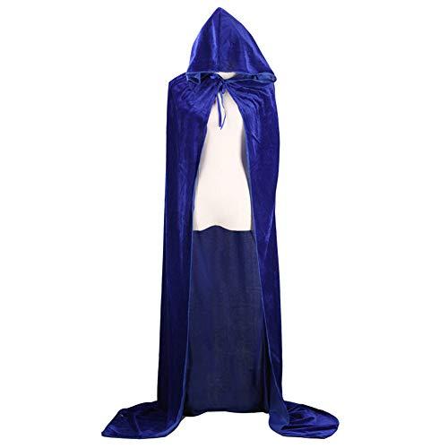 (KDSANSO Halloween Kostüm Damen,Erwachsene Halloween Kostüm Tunika Hoodies Robe Cosplay Umhänge Erwachsenen Kapuzenumhang,Blau 150cm)