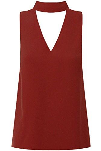 Comfiestyle - Débardeur - Body chemise - Femme Bordeaux