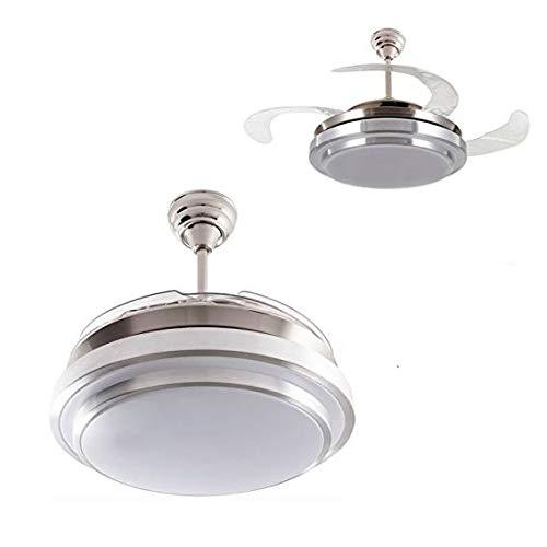 Ventilador de techo mod. Selene con LED incorporado y mando a distancia, 107 cm. acabado cromo y blanco...