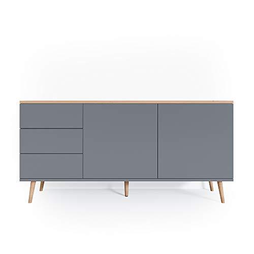 Vicco Sideboard Corona Kommode Schrank in grau und weiß verfügbar, Scandi-Look (Grau)