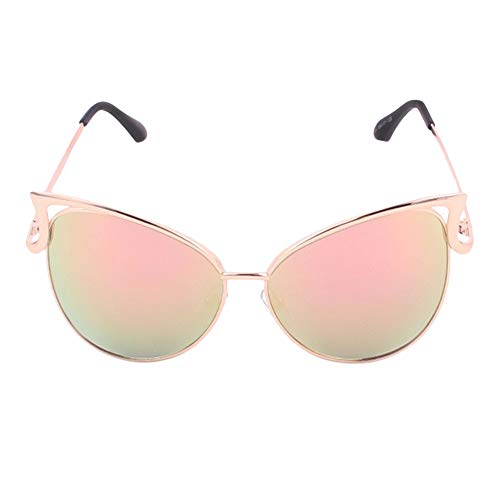 Gaodaweian Damen Sonnenbrillen Metallrahmen Cat Eye Spiegel Brille Übergroße Brillen UV400 Schutz (Color : Pink)