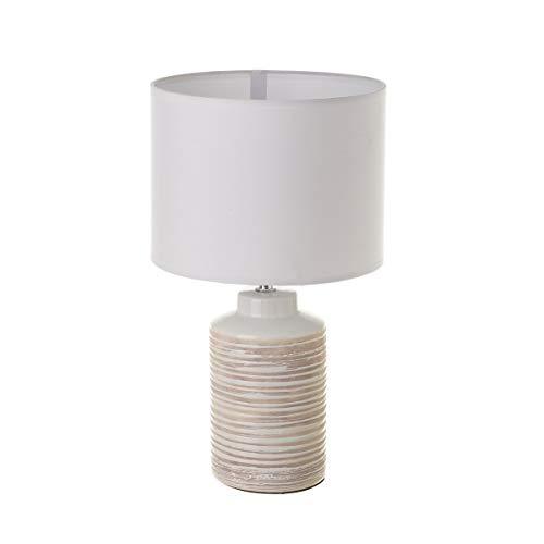 Lámpara de sobremesa de cerámica blanca rústica para la entrada ...