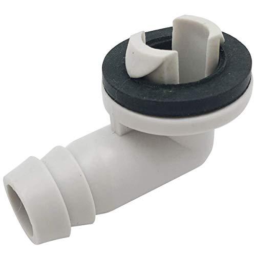 Moligh doll Raccordo un Gomito con Connettore per Tubo Flessibile di Scarico Aria Condizionata AC con nel Gomma per Unità -Split e Unità AC per Finestra da 3/5 Pollici (15 Mm)
