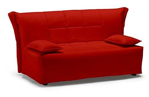 Divano letto open 140, prontoletto con rivestimento in cotone rosso