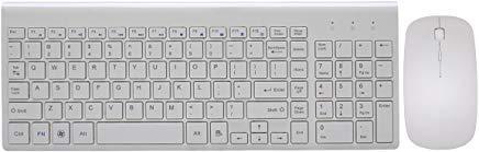 Set tastiera e mouse wireless, Haibing tastiera wireless 2.4GHz con 102tasti e mouse per laptop, notebook, PC, Mac, Windows bianco Infradito colorati estivi, con finte perline
