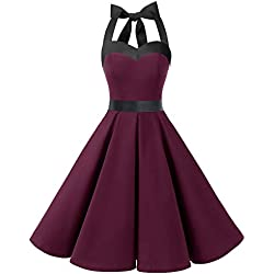 Dresstells® Halter 50s Rockabilly Polka Dots Audrey Dress Retro Cocktail Dress Burgundy Black M