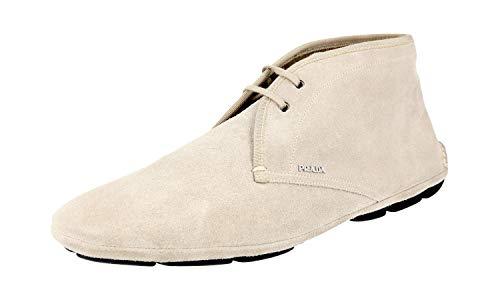 Prada 2TD001 054 F0D32 Herren Stiefeletten aus Leder, Beige (Pomice), 43 EU - Männer Prada Kleid Schuhe