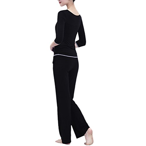 Zhhlaixing Hot Womens Simple Solid color Fitness Tracksuit Comfortable Two pieces Yoga Sets Black