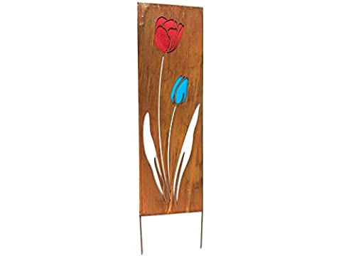 Decorative Garden Panel Or Border Divider With Glass Tulip Flower Inlay