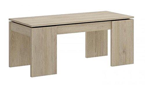 Table basse à plateau relevable coloris naturel avec 4 pieds - Dim : 43 x 100x 50 cm.-PEGANE