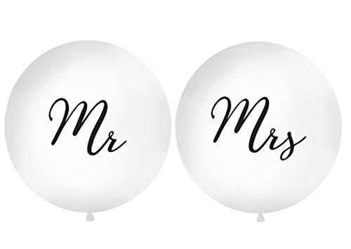 DaLoKu Hochzeit XXL Riesen Luftballon Ø 1m Hochzeitsluftballon, Farbe: Mr & Mrs weiß/schwarz