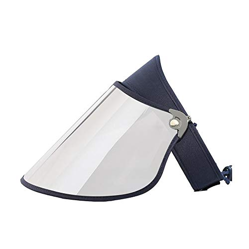 DALL Sonnenhüte Damen Sommer Leere Zylinderhut Masken-Hut Einstellbarer Winkel Wide Brim UV-Schutz 50-59 cm (Farbe : Dunkelblau, größe : Silver Lens) -