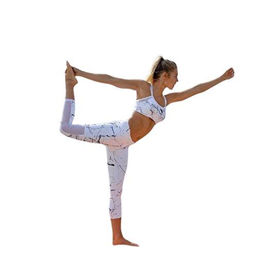 Morwind Women 2 Piece Yoga Suit Crop Top Pants Leggings Set Activewear Gym Running Outfit Sports Wear