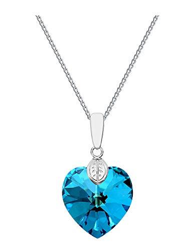 Cuore * * * * 18mm * bermuda blue * con argento collana in argento 925con ciondolo originale swarovski® elements, collana con gioielli, con custodia, ideale come regalo per signora o ragazza
