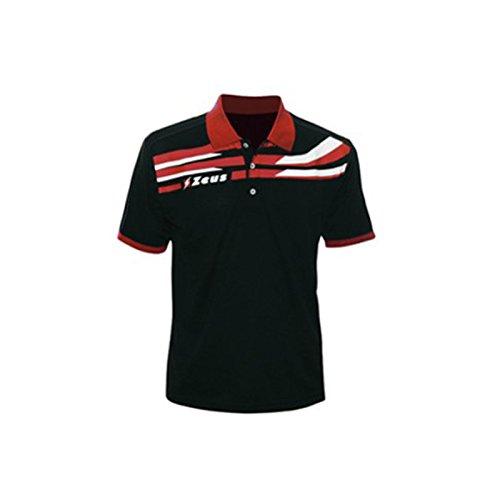 Zeus Herren Polo Itaca Shirt Training Fußball Fitness Sport Schwarz Rot (M)