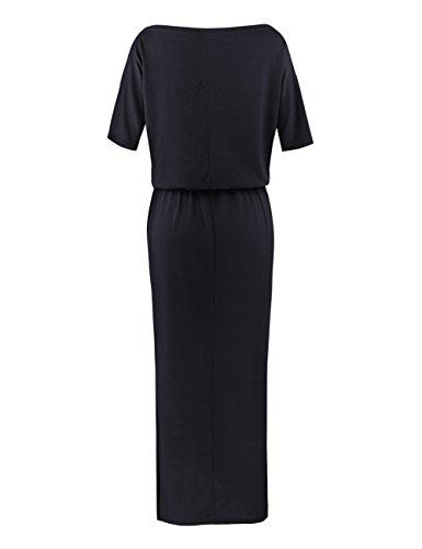 ISASSY Robe Longue Asymétrique Manches Courtes M-XXL Noir/Bleu Foncé Noir