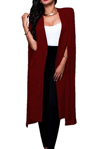 Le Donne Si Apre Davanti Lunghi Scialli Mantelli Solido Blazer Vestiti Di Taglia Red