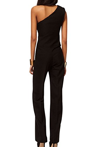 ACHICGIRL Women Black One-Shoulder Wide Leg Jumpsuit Black