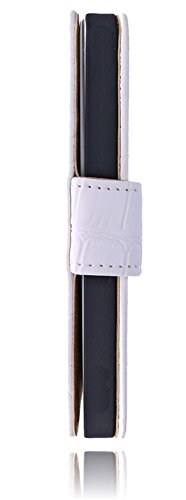 Premium Book Case Handy-Tasche für das Apple iPhone SE / 5 / 5S Flip Cover Case Schutz-Hülle mit Kartenfächer in weiß croco weiß / white