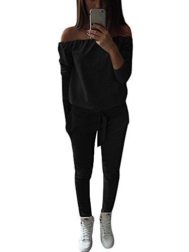 Tomwell Damen Sportswear Set Trainingsanzug Hohe Elastizität Sportbekleidung Kurzarm Top T-Shirt Bandage mit Kapuze + Lange Hose Leggings Schwarz DE 34 Kapuze Hose Top