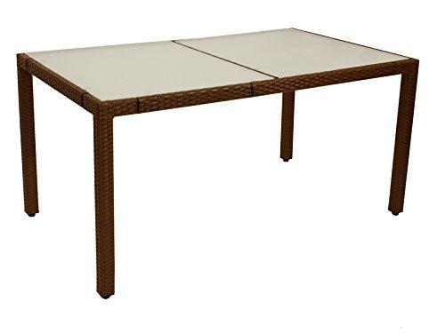 DEGAMO Gartentisch MONTREUX 90x150cm, Metall + Geflecht braun, Tischplatte Glas - Braun Glas-esstisch