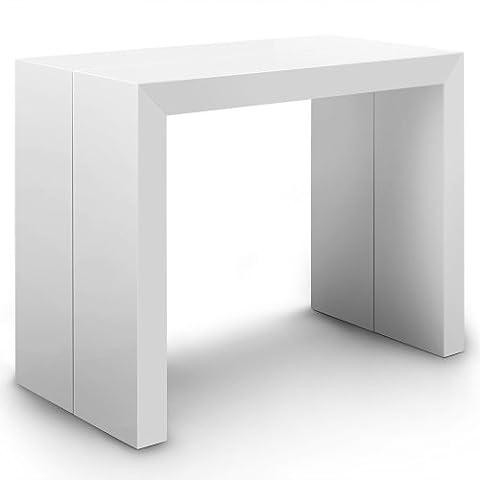 Menzzo AT8027 Contemporain Nassau Table Console Bois Laqué Blanc 50/100/150/200