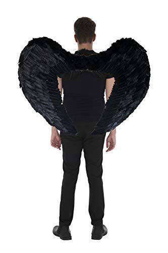 Kostüm Flügel Gefiederten Schwarz - Zac's Alter Ego® - Flügel mit Federn - für Halloween-Kostüme als gefallener schwarzer Engel - sehr groß - 100 x 75 cm