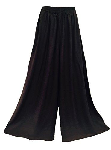 Kühle Kaftans Damen-Hosen Palazzo Weiche Weite Hose mit Gummizug Harem Wrap (Black)