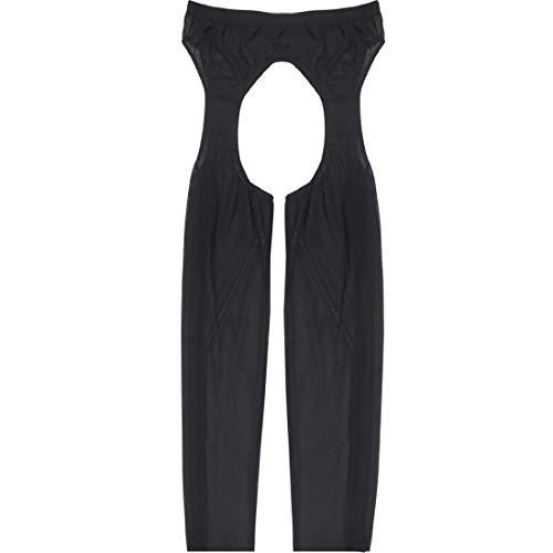 rumpfhose Offen Schritt Legging Mesh Hose Männer Ouvert-Panties Tights Pants Lang Short Unterwäsche Pantyhose Schwarz Rot Weiß Schwarz One_Size ()